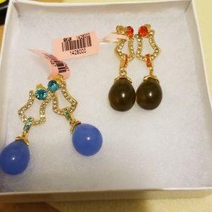 Teardrop shaped light brown & blue earrings both